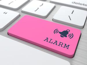 Security Concept - The Red Alarm Button on Modern Computer Keyboard. 3D Render.-1